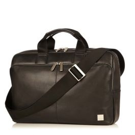 Knomo NEWBURY Single Zip Leather Briefcase 15inch - Black