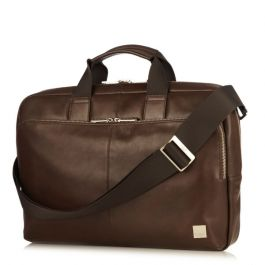 Knomo NEWBURY Single Zip Leather Briefcase 15inch - Brown