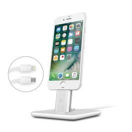 TwelveSouth HiRise Deluxe 2 stojalo za iPhone z Lightning in Micro-USB kablom - Srebrna