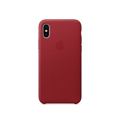 Apple - iPhone X Leather Case - (PRODUCT)RED