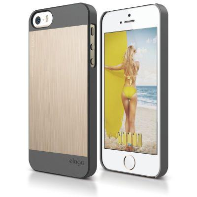 Elago - S5 Outfit Matrix Case for iPhone 5/5s - Dark Grey/Gold